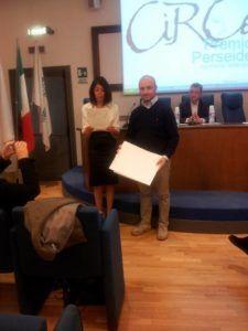Il giornalista Fabio Bonasera durante la premiazione
