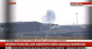 Incendio aeroporto Fiumicino 7-5-2015