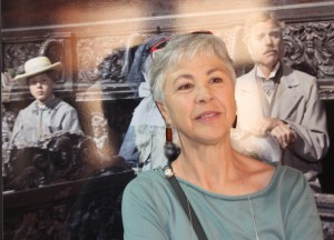 Ottavia Piccolo nella mostra dedicata al Gattopardo a sinistra la giovanissima attrice durante le riprese del film