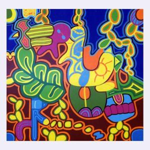 Polpy- omaggio ai muralisti Messicani -T. Modotti, F. Kahlo, D. Rivera-acrilico su miltistrato-2005 copia-1024x1024