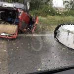 #Milazzo. Incidente nei pressi dello svincolo, auto si ribalta: traffico in tilt