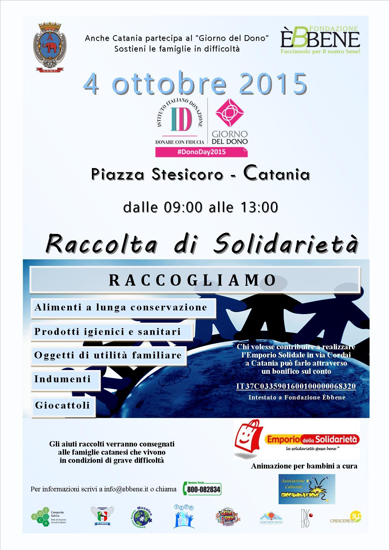 #Catania. Il Giorno del Dono, a piazza Stesicoro tra festa e solidarietà