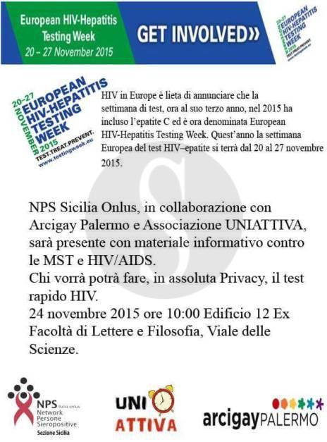 Palermo terza edizione di testing week screening - Test hiv periodo finestra ...