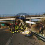 #Cronaca. Camion in fiamme sull'autostrada Messina-Palermo