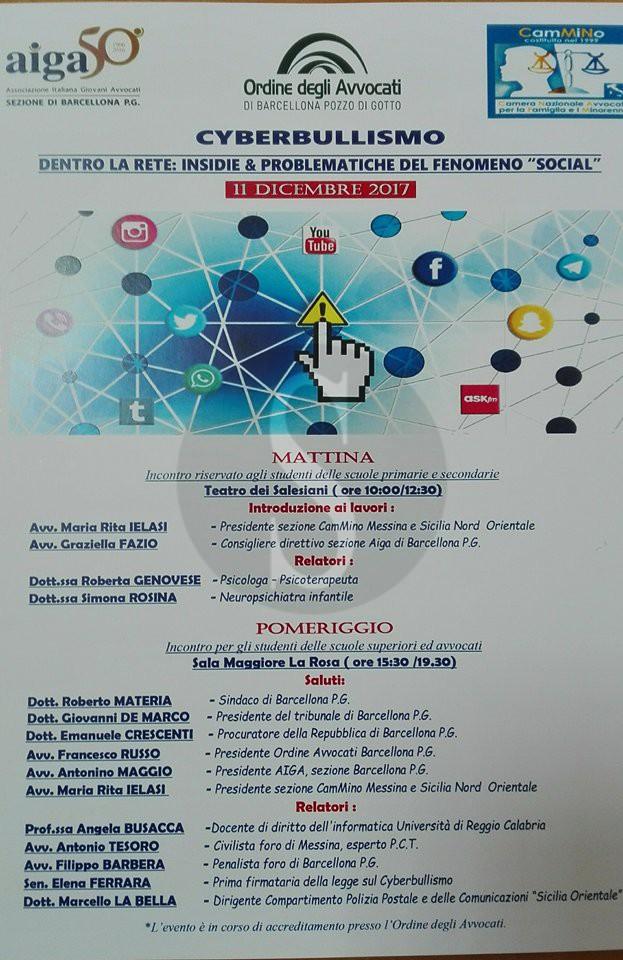Attualità. Cyberbullismo, doppio seminario a Barcellona Pozzo di Gotto