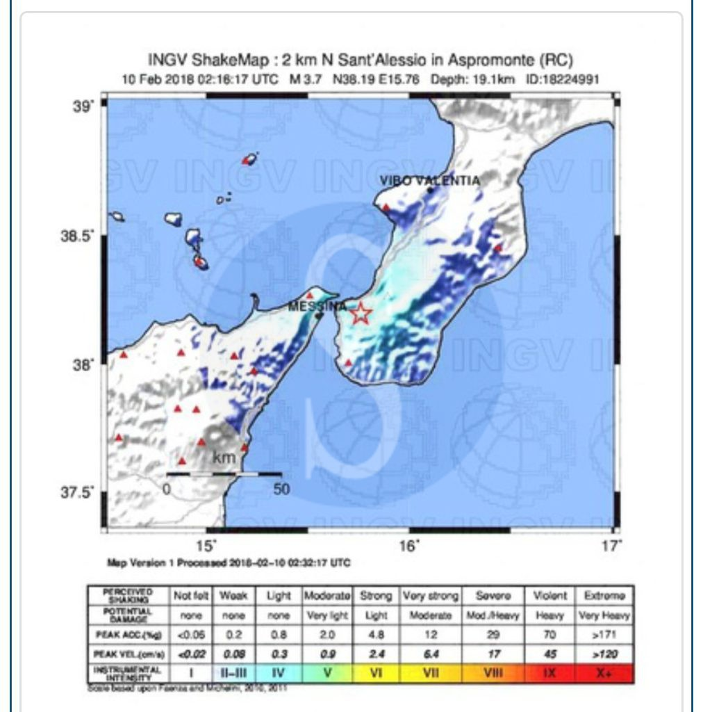 Panico tra Calabria e Sicilia per una scossa di magnitudo 3.7
