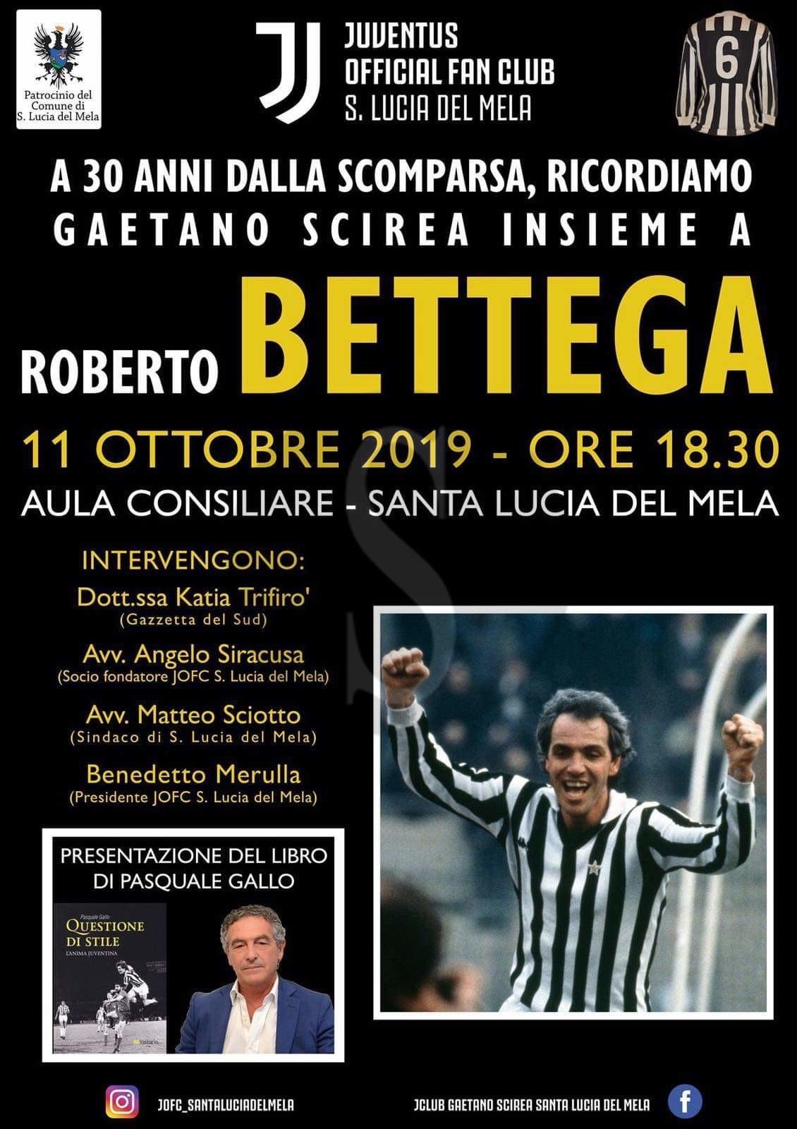 "Santa Lucia del Mela, Roberto Bettega ospite dello Juventus Club ""Gaetano Scirea"""