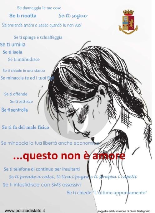 """""""Questo non è amore"""": iniziativa della Polizia di Stato contro la violenza di genere"""